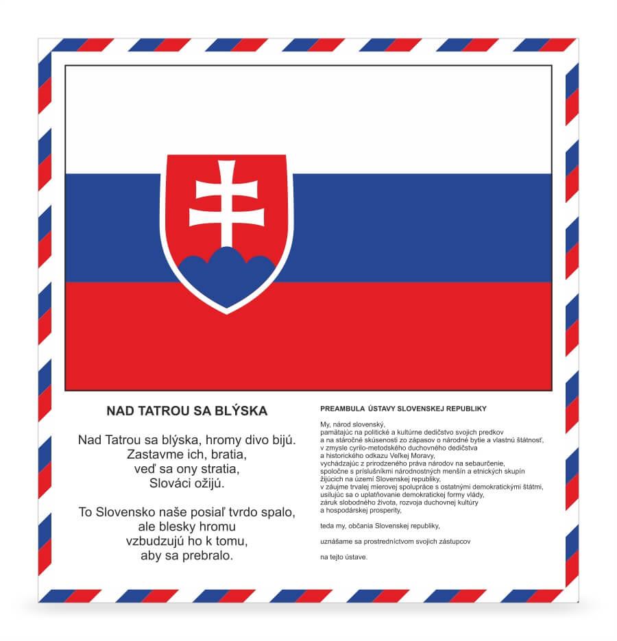 Tabuľa s preambulou, hymnou a štátnou vlajkou