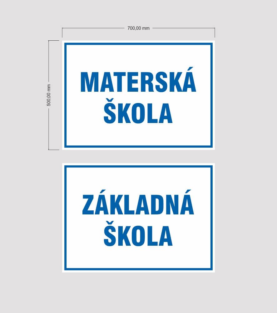 Tabula pre školy a obce, štátny znak, označenie budov
